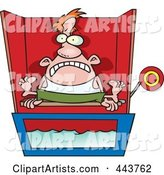 Cartoon Man Sitting on a Dunk Tank