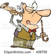 Cartoon Old Man Holding a Trumpet up to His Ear