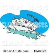 Cartoon Pontoon Boat Character