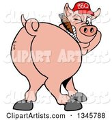 Cartoon Rear View of a Grinning Pig Looking Back, Smoking a Cigar, and Wearing a Bbq Hat