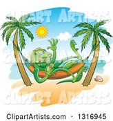 Cartoon Relaxed Iguana Lizard Waving Drinking Iced Tea in a Hammock on a Tropical Beach
