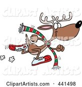 Cartoon Running Reindeer