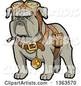 Cartoon Steampunk Bulldog Explorer Wearing a Pouch, Pocket Watch and Goggles