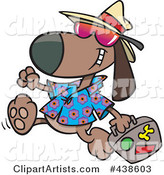 Cartoon Traveling Dog Carrying Luggage