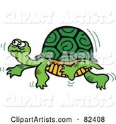 Cartoon Turtle Walking Slowly by