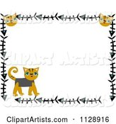 Cat Border with Kittens and Fish Bones