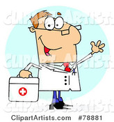Caucasian Cartoon Doctor Man Carrying His First Aid Bag