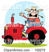 Caucasian Farmer Waving and Driving a Red Tractor