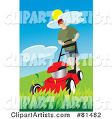 Caucasian Man Pushing a Red Lawn Mower over Tall Grass