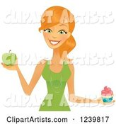 Caucasian Woman Holding a Cupcake and Green Apple