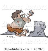 Caveman Using Stones to Type on a Computer