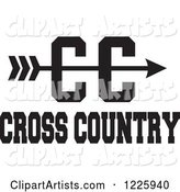 CC Arrow with Cross Country Running Text in Black and White