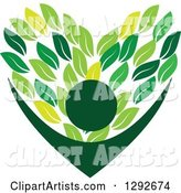 Cheering Person with Arms Framing a Love Heart Made of Green Leaves