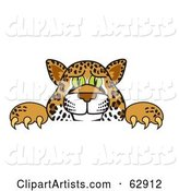 Cheetah, Jaguar or Leopard Character School Mascot Looking over a Surface
