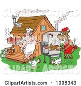 Chickens Running Around a Cow and Pig Using a Smoker and Cooking Meat at a Bbq Shack