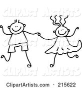 Childs Sketch of a Black and White Boy and Girl Holding Hands