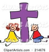 Childs Sketch of a Boy and Girl with a Purple Cross