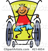 Childs Sketch of a Boy in a Wheelchair