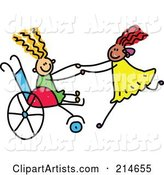 Childs Sketch of a Girl in a Wheelchair Playing with Her Friend