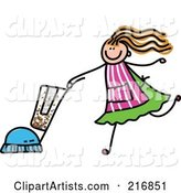 Childs Sketch of a Girl Vacuuming