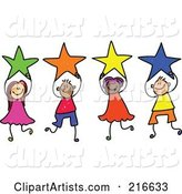 Childs Sketch of a Group of Kids Holding Stars - 1