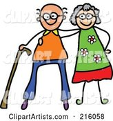 Childs Sketch of a Happy Elderly Couple