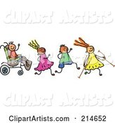 Childs Sketch of a Happy Group of Disabled Kids
