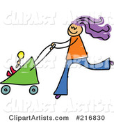 Childs Sketch of a Mom Pushing a Baby Stroller