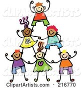 Childs Sketch of Human Pyramid of Kids - 1