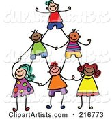Childs Sketch of Human Pyramid of Kids - 2