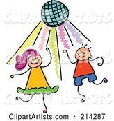 Childs Sketch of Kids Dancing Under a Disco Ball