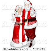 Christmas Santa and Mrs Claus Waving