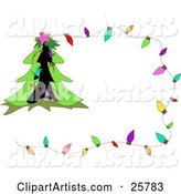 Christmas Stationery Boder with Colorful Lights and a Decorated Tree