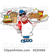 Chubby Chef Pig Holding Trays of Food
