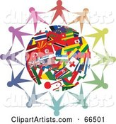 Circle of People Holding Hands Around a World Flag Globe