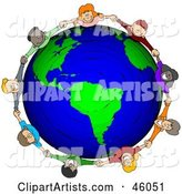 Circle of Worldwide Children Holding Hands Around a Globe