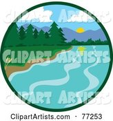 Circle Scene of a Lake Shore with Lush Green Forests and Mountains