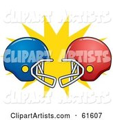 Clashing Red and Blue American Football Helmets