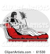 Cleopatra Reclined on a Seat, Holding a Leaf or Feather
