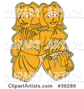 Clipart Illustration of Two Yellow Women, Maids or Janitors, Wearing Gloves and Carrying a Feather Duster and Mop Bucket, Standing Shoulder to Shoulder