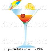 Cocktail Umbrella and Cherry in a Tropical Alcoholic Beverage