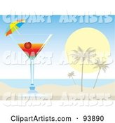 Cocktail Umbrella and Cherry in a Tropical Alcoholic Drink on a Beach
