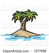 Coconut Palm Trees on an Island