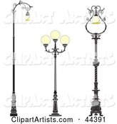 Collage of Three Vintage Iron Street Lamps