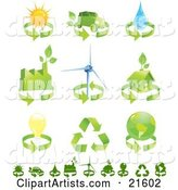 Collection of Green Energy Icons of Renewable Energy, Solar Power, Biofuel, Water, Factory, Wind Turbine, Green Home, Electricity, Recycling and Environment
