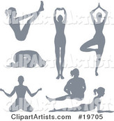 Collection of Silhouetted Women Doing Yoga Poses and Stretches