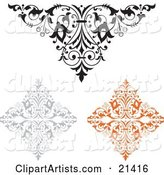Collection of Three Ornamental Elements, One Black and White, One Gray and One Orange