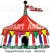 Colorful Flags Around a Big Top Circus Tent