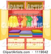 Colorful Hanging Shirts and Folded Pants in a Wardrobe Closet
