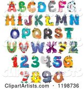Colorful Monster and Animal Letters and Numbers